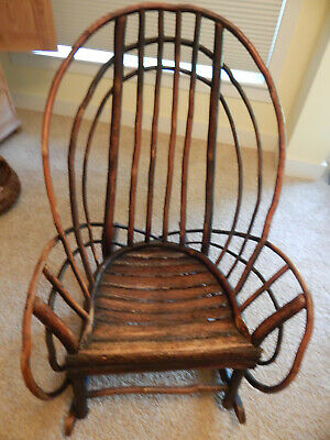 Antique Indiana Hickory Large Rocking Chair--Original Finish