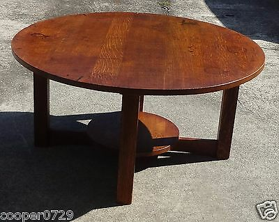 "Genuine Antique L & JG STICKLEY Large Round 36"" Table Quartersawn Oak"