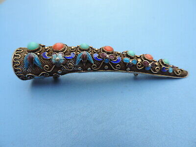 Antique Chinese Silver Filigree Finger Nail Guard Brooch Enamel Turquoise Coral