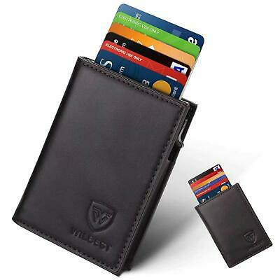 Credit Card Holders Rfid Blocking Wallet Mens Leather Automatic Pop-Up Slim