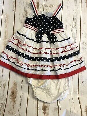587b1cb63a768 BABY GIRLS 18 MONTH Bonnie Jean Baby RED & WHITE HOLIDAY DRESS 4th Of ...