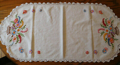 Vintage embroidered stitched colorful floral baskets huck cloth dresser scarf