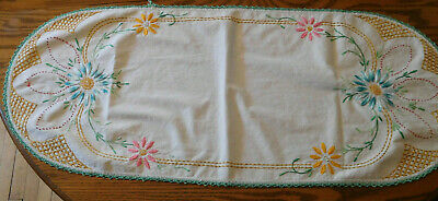 Vintage embroidered stitched colorful floral design dresser scarf