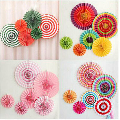 6x Paper Fan Flowers Wedding Baby Birthday Party Tissue Paper Table Decoration