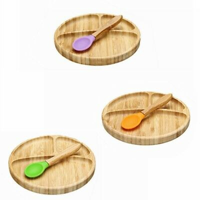 Feeding Baby Suction Bowl Stay Put Suction Divided Bamboo Plates Plus Baby Spoon