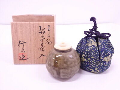 4195257: Japanese Tea Ceremony / Tanba Ware Tea Caddy By Shinsui Ichino Chaire