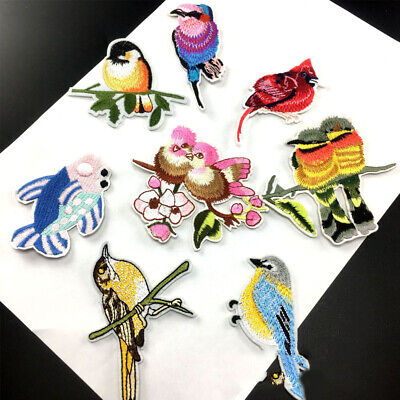 Embroidery Flower Bird Sew Iron On Patch Badge Clothes Fabric Applique Craft DIY