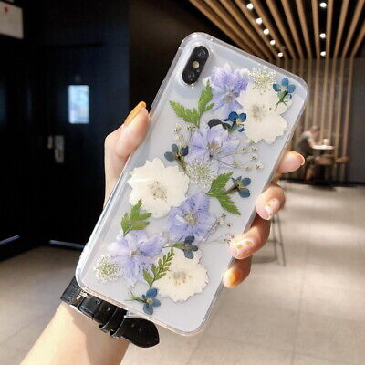 Real Dried Flower Clear Rubber Soft Case Cover For iPhone XS MAX XR 8 7 6s Plus