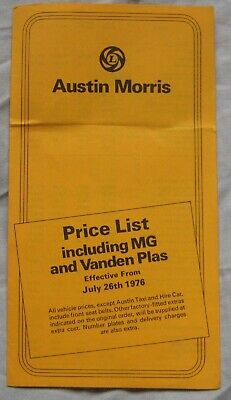Morris Uk Price List 1969 Mini Minor 1100 1300 Oxford Vanden Plas