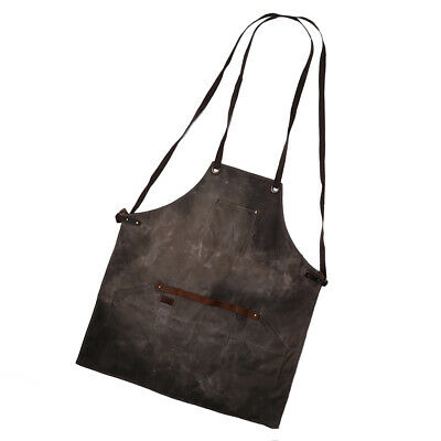 Unisex Waxed Canvas Heavy Duty Apron with Pocket Adjustable Neck Strap Brown