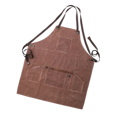 Unisex Waxed Canvas Heavy Duty Apron with Pockets Adjustable Straps Coffee