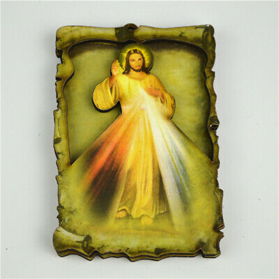 Wooden Rectangle Magnet with Jesus' Divine Mercy Religious Picture for Occasions