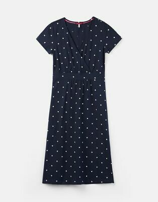 New JOULES French Navy Spot JUDE Jersey Wrap Dress Size 8