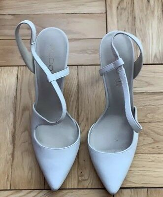 60484ad7dd ALDO WHITE LEATHER Pointy Toe Ankle Strap High Heels Women's Size ...