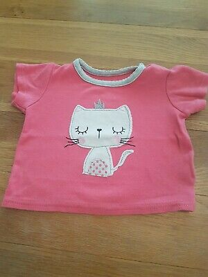 Baby Girls Pink Tshirt  Age 6-9 Months Princess Cat top from primark