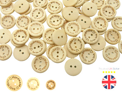 Natural Round Wooden Buttons Handmade With Love 15mm 20mm 25mm Craft UK SELLER