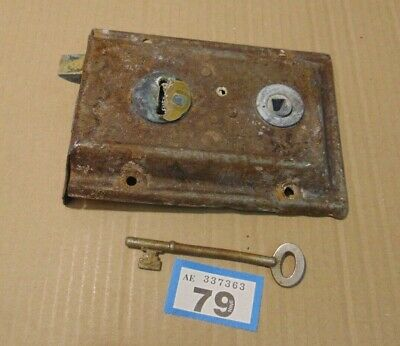 Antique  Brass And Steel Duel Handled Rim Door Lock  With Key 79