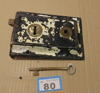 Antique  Brass And Steel Duel Handled Rim Door Lock  With Key 80