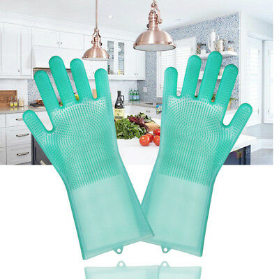 Magic Reusable Silicone Gloves Cleaning Brush Scrubber Gloves Heat Resistant  MA