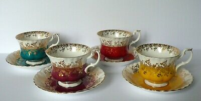 Set of 4 Royal Albert Regal Series HARLEQUIN Cups & Saucers