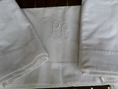 Linen Metis Vintage French DBLE Flat Top Bed  Sheet Monogram PG
