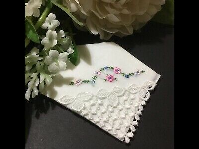 Vintage Embroidered & Lace Corner Handkerchief Very Pretty Suitable Wedding, Etc