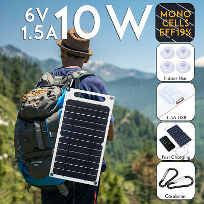 Portable 10W 6V Solar Power Charging Panel USB Charger For iPhone Samsung Tablet