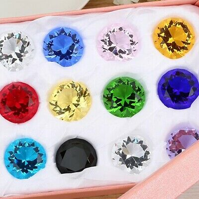 11 Colors Glass Crystal Diamond Shape Paperweights Facet Jewel Wedding Gift 30mm