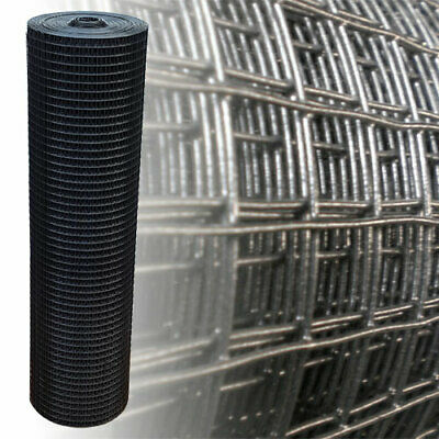 """1""""x1"""" Welded Wire Mesh Black 1m x 10m 1.45mm Aviary Fencing Fence Chicken Rabbit"""