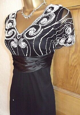 WALLIS ❤️  SIZE 12 P Vintage 1920s Bead Black Deco Downton Flapper Gatsby Dress