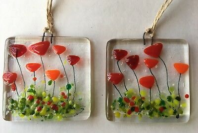 Fused Glass Red Flowers Poppy Tulip Sun Catcher Decoration Teachers Gift