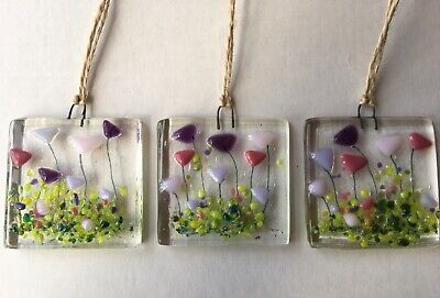Handmade Fused Glass Pink Purple Flowers Sun Light Catcher Decoration Gift