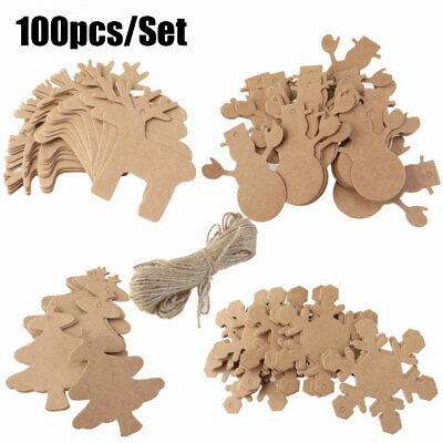 100PCS Mix 4 Style Brown Cardboard Kraft Paper Christmas Gift Parcel Tags Label