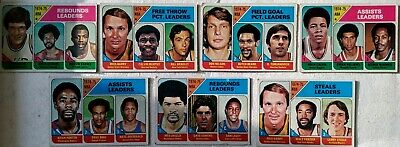 Topps 1975/76 7 card NBA/ABA leaders lot, Barry/Unseld
