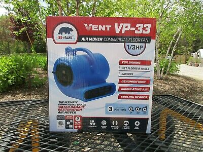 New, 1/3 HP Air Mover Blower Fan for Carpet, Floor Drying, Cooling, B-Air VP-33