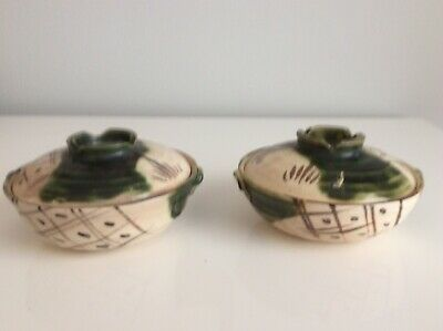 2 Vintage Japanese Oribe Ware Covered Rice Bowl Pottery Green/Brown Glaze