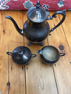 Vintage F B Rogers 3 Piece Silverplate Tea Coffee Set ( Pitcher Sugar Creamer )