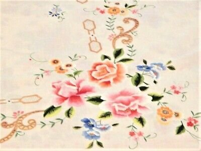 Hand Stitched Embroidered Tablecloth 12 Napkins Roses 72x108