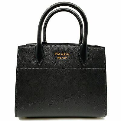 a357e013de Prada Bibliotheque Saffiano City Black Red Leather Ladies Tote Bag  1BA0712EVU FO