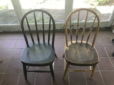Pair Antique Children's Windsor Chairs Vintage Kid's Chairs, set of 2