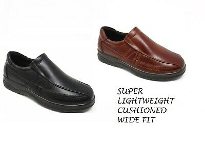 DR LIGHTFOOT MENS WIDE FIT SHOES SLIP ON CASUAL SMART MOCCASIN COMFORT SIZE 6-12