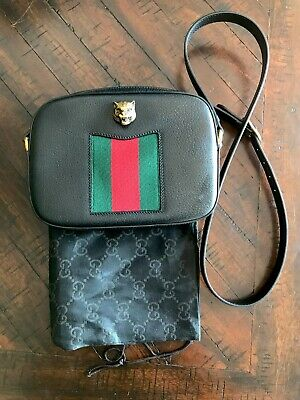 b7dc57ce6 Gucci Animalier Rare Textured Leather Shoulder Crossbody Tiger Black Bag