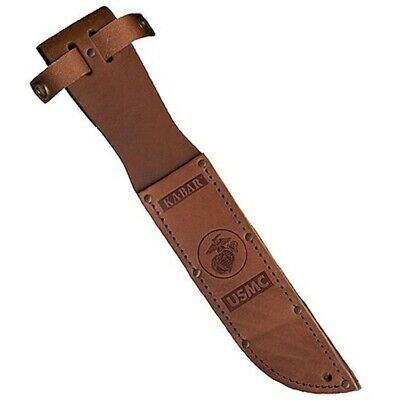Genuine KA-BAR USMC Marine Knife Sheath Embossed Brown Leather #1217S