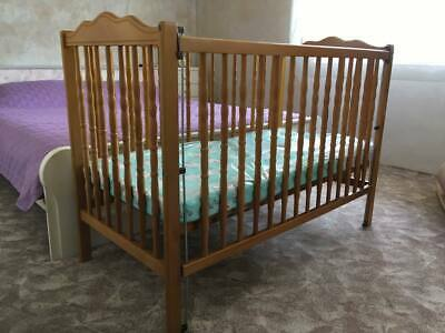 "Wooden Baby Drop-side Cot bed crib 120x60 cm beech wood ""Mio Bambino"" brand"
