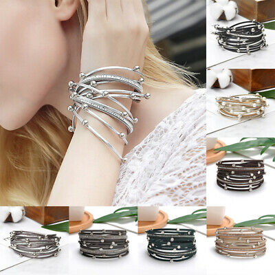 Women Lady Crystal Pearl Multi-layer Leather Bangle Wrap Bracelet Charm Jewelry