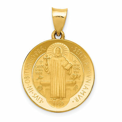 14k Yellow Gold St Benedict May We Be Strengthened In Our Hour Of Death Pendant