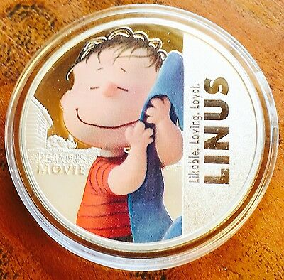 New Peanuts Linus Collectable Coin Medallion Finished Silver 1oz Movie .999