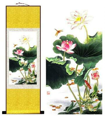 Lotus Flowers Asian Chinese Japanese Canvas Scroll Hanging Wall Art