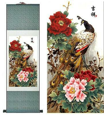A Charming Peacock Asian Chinese Japanese Canvas Scroll Hanging Wall Art