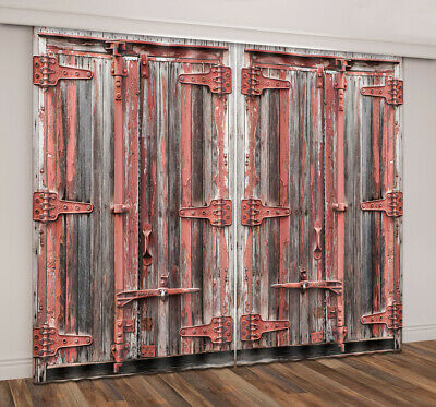3D Rustic Old Wood Door Blockout Photo Curtain Printing Fabric Window Decor